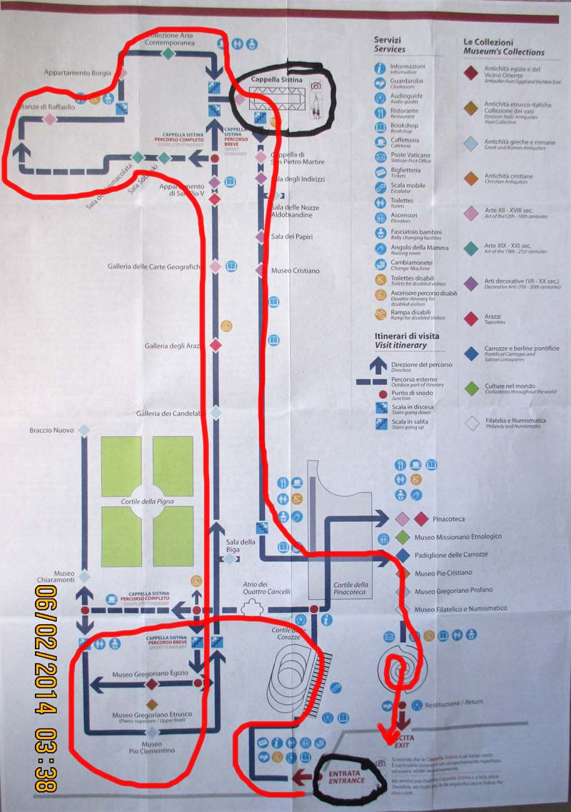 Vatican Museum Sistine Chapel Map